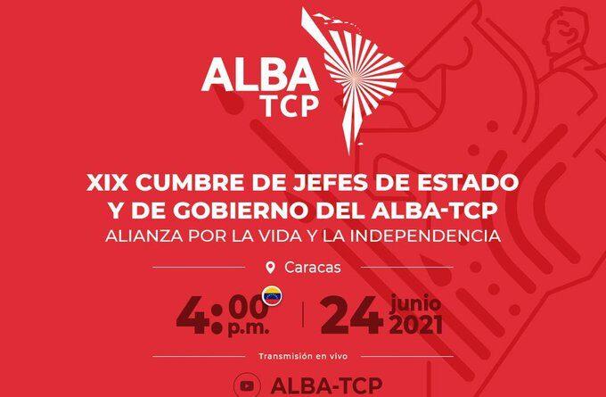 Banner with the next ALBA-TCP summit information. Photo courtesy of @SachaLlorenti .