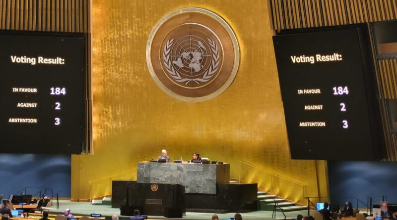 Voting result in the United Nations against the US blockade on Cuba. Photo courtesy of @NicolasMaduro