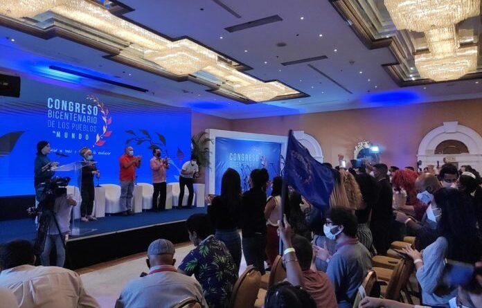 Plenary of the Congress with (from left to right) Piedad Cordoba, Diosdado Cabello, Adan Chavez, Evo Morales. Photo courtesy of RedRadioVE.
