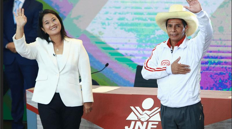 Peruvian presidential candidates Keiko Fujimori of the conservative party Fuerza Popular and Pedro Castillo of Peru Libre.