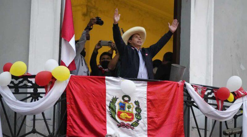 Peruvian President elect Pedro Castillo celebrating with his followers his victory. File photo.