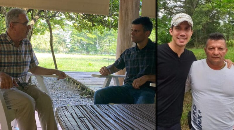 Leopoldo Lopez meeting with Colombia's Uribe pointed by many as the father of para-politics, meaning the mix of politics with paramilitary gangs. His employee, former deputy Guaido with the head of an infamous paramilitary gang, Los Rastrojos. Photo courtesy of The Grayzone.