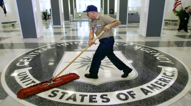 CIA entrance being mopped. File photo.
