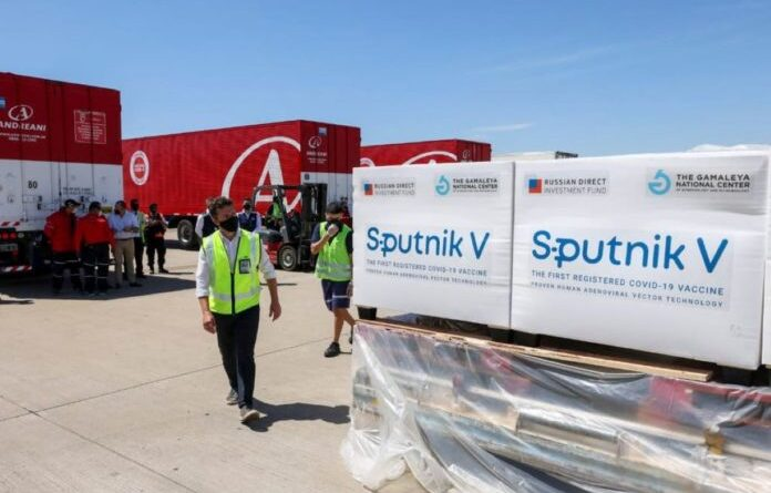 Sputnik V, Russian anti COVID-19 vaccines being unload from an airplane. File photo.