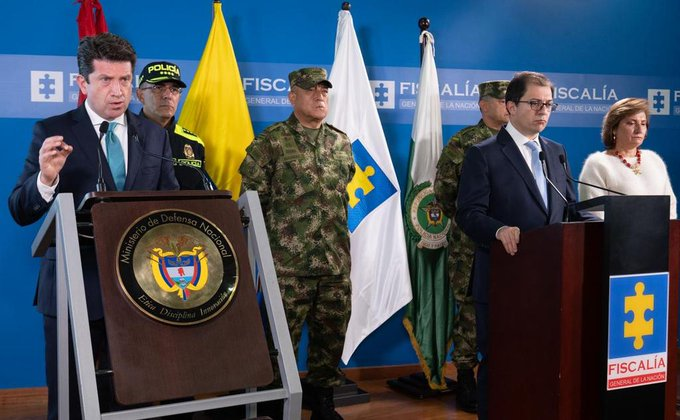 Colombian defense minister Diego Molano during his press conference giving details about the alleged attack on Ivan Duque's helicopter. Photo courtesy of Twitter / @Diego_Molano .