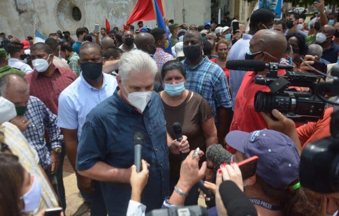 Cuban President Miguel Diaz-Canel went to the streets of Cuba to talk directly with the people in the mist of a destabilization operation that many believe is US made. Photo Telesur.