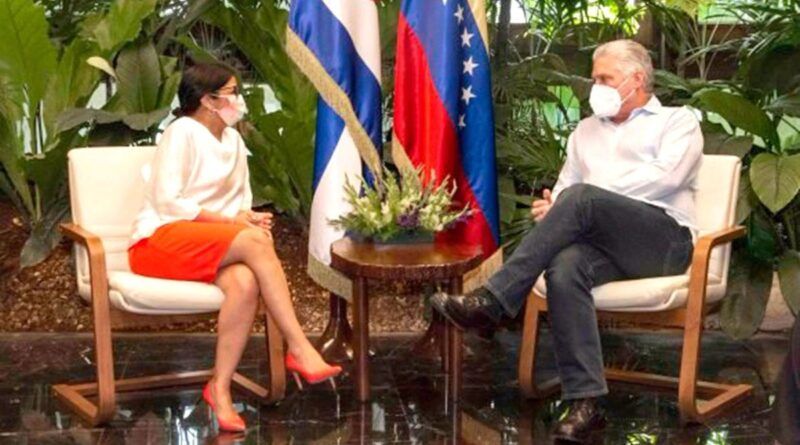 Venezuelan President Delcy Rodriguez and Cuban President Miguel Diaz-Canel. Photo courtesy of Alba Ciudad.