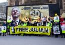 Julian Assange - Melbourne protest with big banner celebrating Assange birthday.