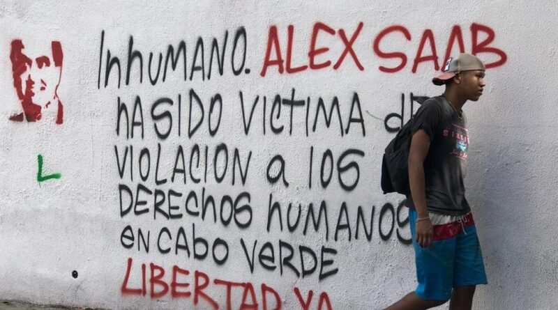 Street painting in Caracas talking about the violations of Alex Saab's human rights by the Cape Verdean government. File photo.