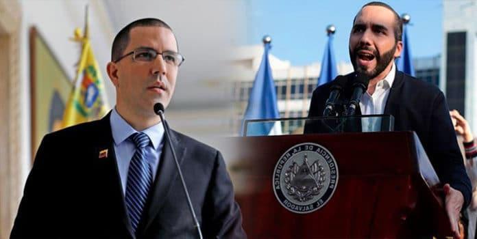 Venezuelan Minister for Foreign Affairz Jorge Arreaza and Salvadorian president, Nayib Bukele. Photo courtesy of RedRadioVE.