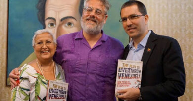 Dan Kovalik escorted by Jorge Arreaza Venezuelan Minister for ForeignAffairs and Tibisay Lucena former head of National Electoral Council (CNE). File photo.