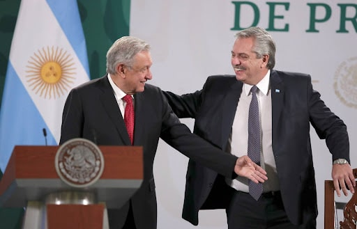 Argentinian President Alberto Fernandez and his Mexican counterpart AMLO. File photo.