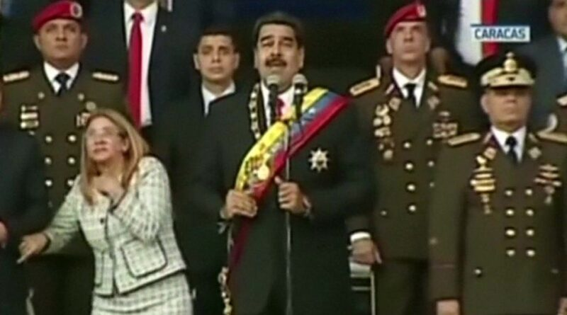 Screenshot from the VTV video of drone assassination attempt against President Maduro. File photo.
