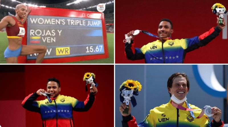 Venezuelan Tokyo 2020 medalist so far. Upper left, Yulimar Rojas (gold), bottom right, Keydomar Vallenilla (silver) , upper right, Julio Mayora (silver) and bottom right, Daniel Dhers (silver). Photo courtesy of Twitter / @jaarreaza .