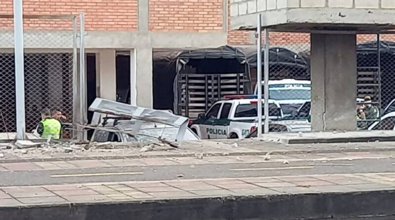 Photo showing the effects of the bomb bland on the police station entrance. Photo courtesy of Twitter.