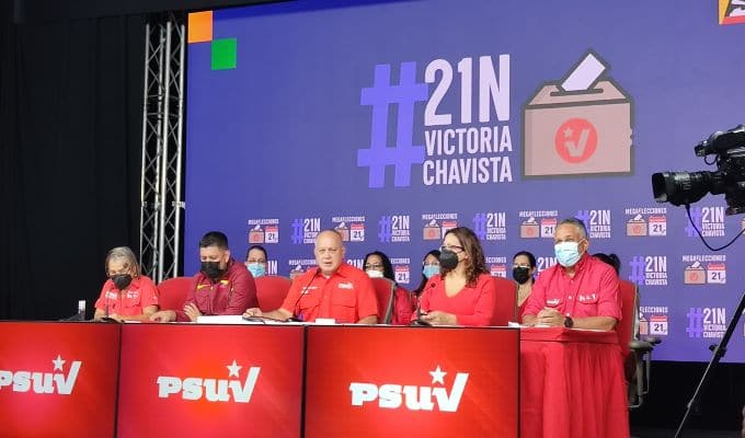 PSUV directorate in a press conference. Photo courtesy of Twitter / @PartidoPSUV .