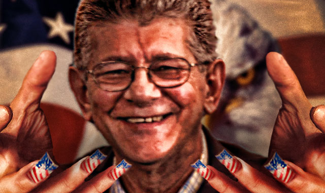 Henry Ramos Allup and the US pulling the strings. Photo courtesy of Twitter/ @ernesto_cazal.