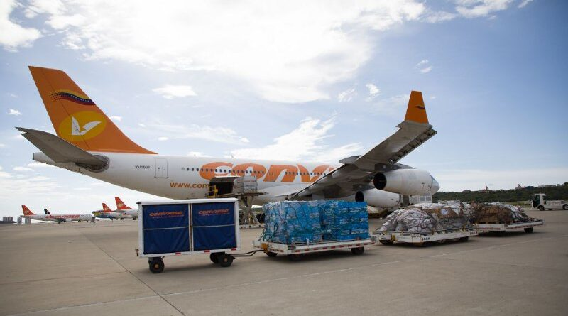 CONVIASA jet carrying humanitarian aid for Haiti after the most recent earthquake. Photo courtesy of Alba Ciudad.