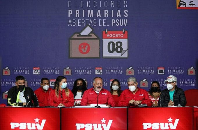 Diosdado Cabello and part of PSUV directorate during the second press conference informing the results of the party primaries. Photo courtesy of PSUV.
