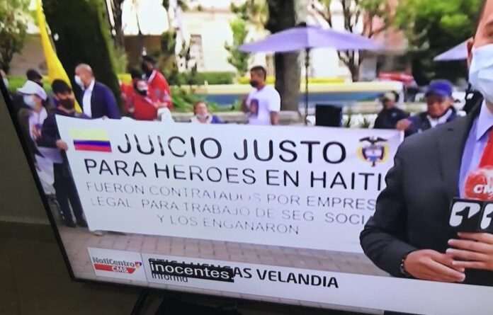 """Expensive Kinko's kind of made poster in Colombia demanding for """"fair trial for our heroes in Haiti"""", they were hired by legal 'social' security companies and they were tricked."""" Colombia never stops amazing people worldwide said OT's editor. Photo courtesy of RedRadioVE."""