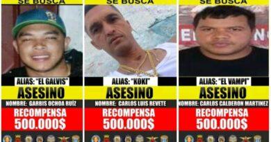 enezuelan authorities has put a bounty on El Galvis, El Coqui and El Vampi. File photo