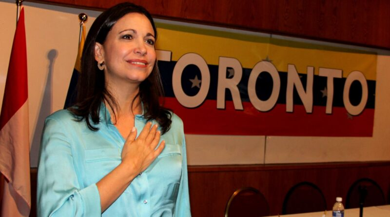 Anti-Chavista politician María Corina Machado, whose Súmate NGO received financial support from the Canadian government, speaking at University of Toronto in 2014.