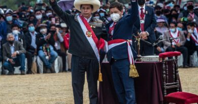 President Pedro Castillo and his just appointed chief of staff Guido Bellido during the people's inauguration at the Pampa de Quinoa, Ayacucho. Photo courtesy of EFE.