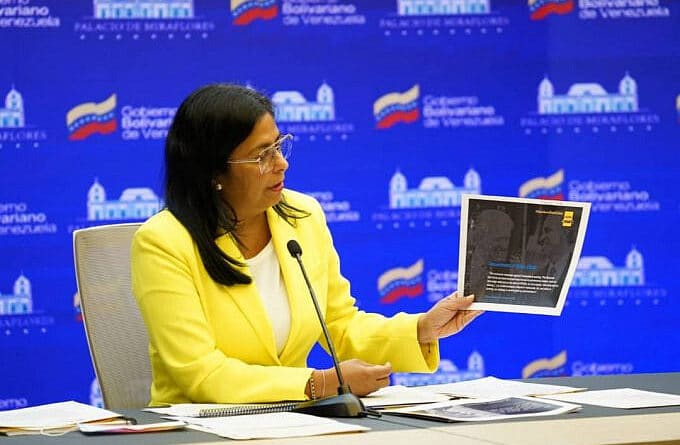 Delcy Rodriguez, Venezuela's Vice President presenting the latest report sent to the International Criminal court on the illegal sanctions issue. Photo courtesy of the office of the Vice President of Venezuela.