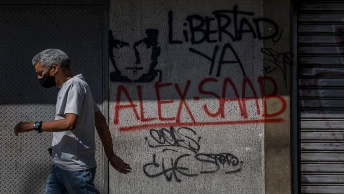 Street painting in Caracas from the #FreeAlexSaab campaign. File photo.