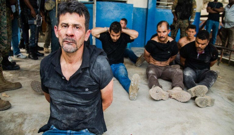 Colombian mercenaries captured in Haiti after assassinating Haitian ruler Jovenel Moise. Photo courtesy of Telesur.