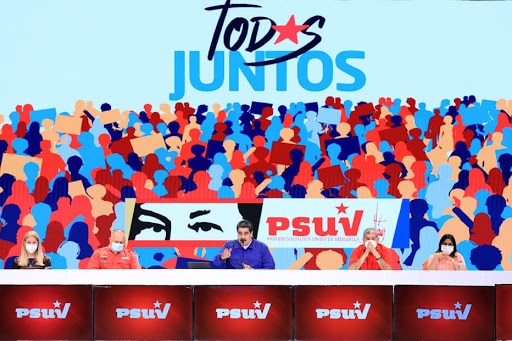 PSUV Wraps Up Internal Campaign to Elect Precandidates for 21N Mega-Elections. PSUV leadership, including President Maduro with the banner designed for the primaries. File photo by Prensa Presidencial.