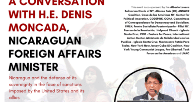 Poster for the webinar with Nicaraguan Foreign Affairs Minister, Denis Moncada. Photo courtesy of AFGJ.