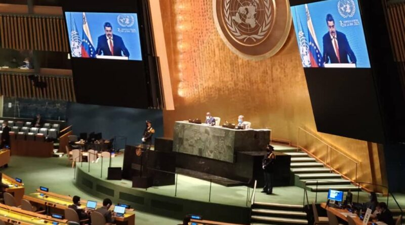 Venezuelan President Nicolas Maduro addressing the UN 76th General Assembly. Photo courtesy of RedRadioVe.