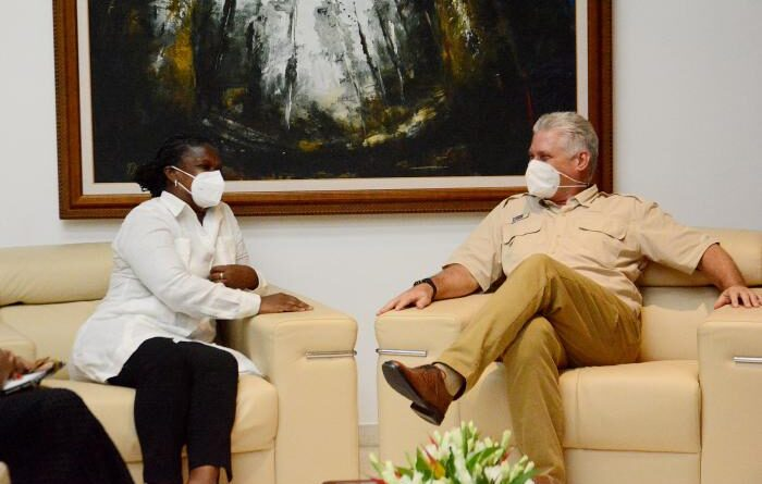 Featured image: Cuban President Miguel Díaz-Canel and Gail Walker from Pastor for Peace. Photo courtesy of ACN.
