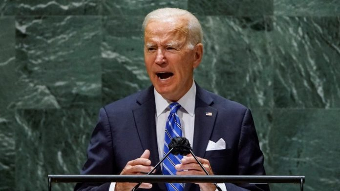 US president Joe Biden reading the teleprompter during the 76th UN General Assembly. Photo courtesy of United Nations.