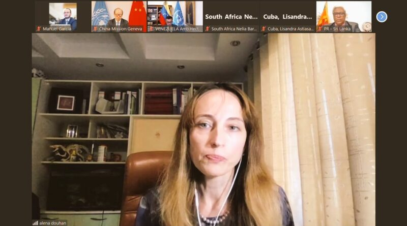 Virtual meeting of diplomats of illegally sanctioned countries with SPecial Rapporteur Alena Douhan. Photo courtesy of Twitter / @h_constant .