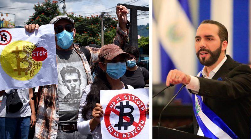Salvadorans protests against Bukele's Bitcoin law (left). September 7, 2021. Photo: AMATE El Salvador