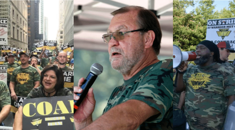 Photo composition with UMWA street actions and Larry Spencer at the center. Image by Orinoco Tribune.