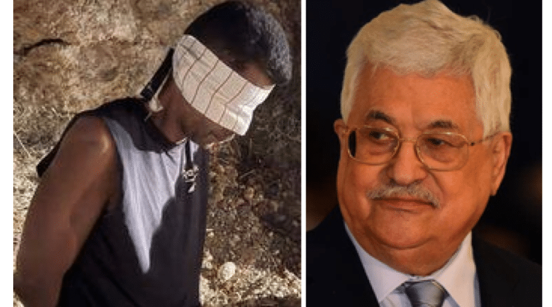 De facto President of the Palestinian Authority, Mahmoud Abbas (left), and Zakaria al-Zubaidi, Palestinian freedom fighter, after his capture by Israeli forces (right).