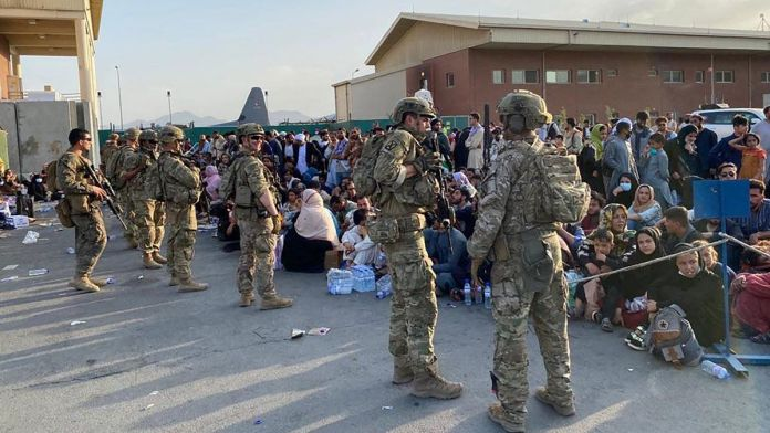 US soldiers securing Kabul airport during the chaotic US withdraw from Afghanistan after 20 years of invasion. File photo.