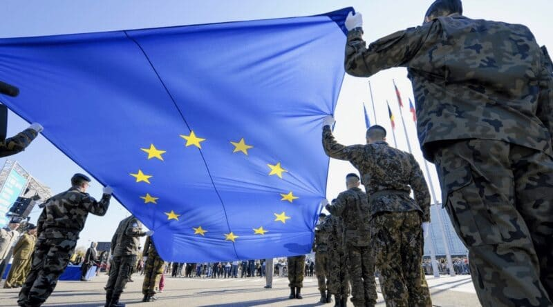 German soldiers holding the European Union flag. File photo.