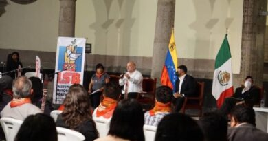 Rander Pena and Carlos Ron interacting with Mexican social movements in parallel to the 6th CELAC summit held in Mexico city. Photo courtesy of Twitter / @ISB_VE .