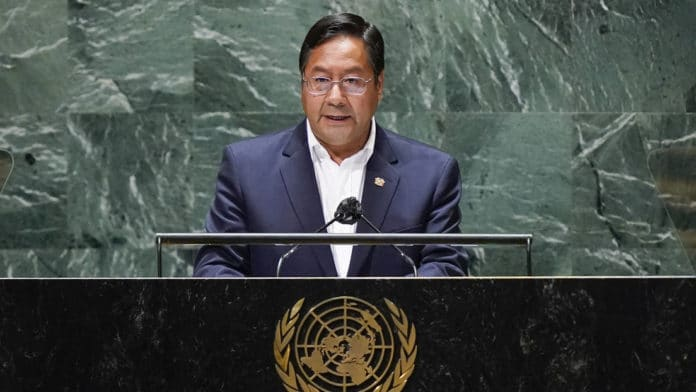 Bolivia's President Luis Arce during the 76th session of the UN General Assembly in New York city. Photo courtesy of RedRadioVE.