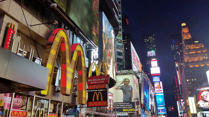 NYC's Time Square view with a big Mac Donald's sign. File photo.