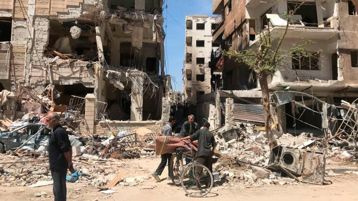 Douma, in the suburbs of Damascus (Syrian capital), destroyed by the imperial war on Syria (Photo: Hassan Ammar / AP)