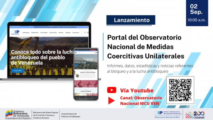 New website for the Venezuelan observatory of illegal US and European blockade. Photo courtesy of RedRadioVE.