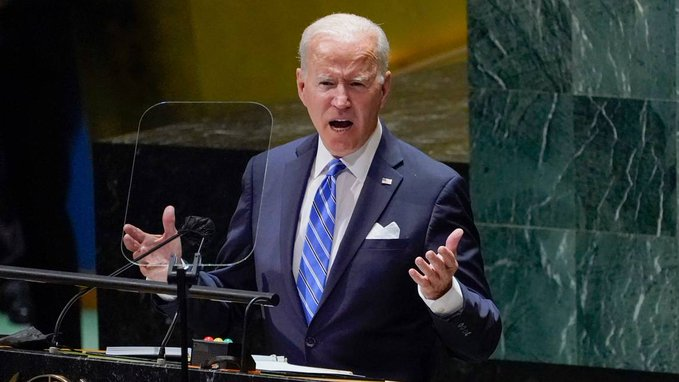 US President Joe Biden addresses the 76th session of the United Nations General Assembly, Tuesday, September 21, 2021, in New York. (AP Photo / Evan Vucci) EVAN VUCCI AP.