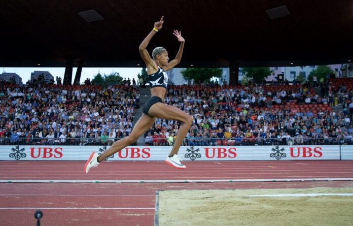 Yulimar Rojas jumping in Zurich where she won the Diamond League. Photo courtesy of Team Rojas.