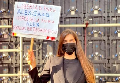 Camila Fabri, Alex Saab's wife during a demonstration in Caracas in repudiation of the second kidnapping of her husband. File photo.