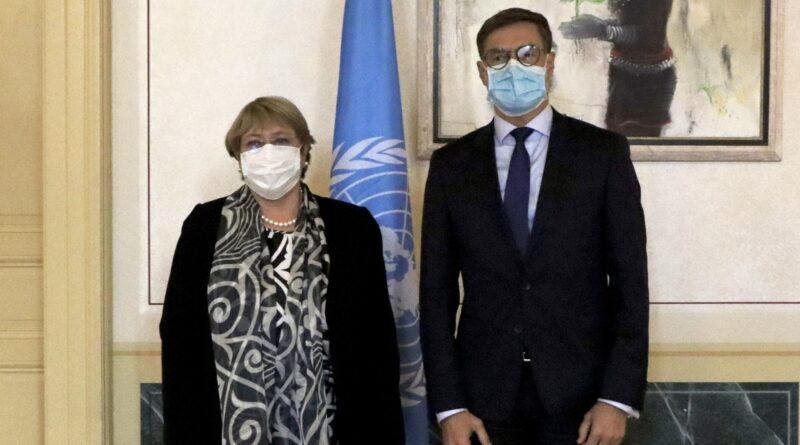 Venezuelan minister for foreign affairs Felix Plasencia meets in Brussels with the UN High Commissioner on Human Rights Michell Bachelet. Photo courtesy of Twitter / @PlasenciaFelix.